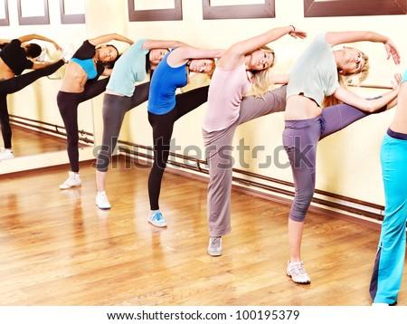 Women group in aerobics class. - stock photo