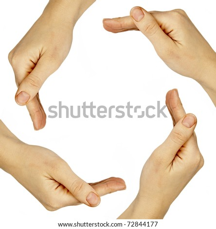 women hands on the white backgrounds - stock photo