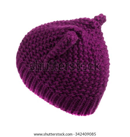 women's knitted hat red isolated on white background .