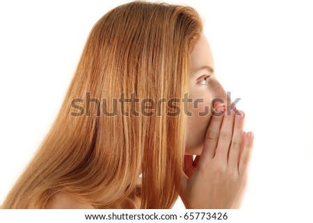 women whispers secret isolated on white background - stock photo