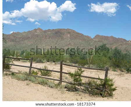 Wood fence in the desert - stock photo