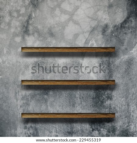 wood shelves. Insulated render on cement background
