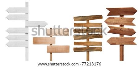 4 Wood signs  on sun sky - stock photo