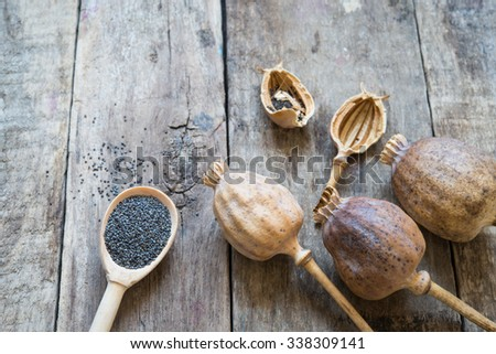 Wooden background with poppy and poppy-seeds - stock photo