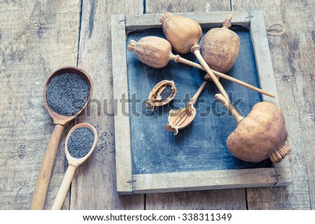 Wooden background with poppy and poppy-seeds/toned photo - stock photo