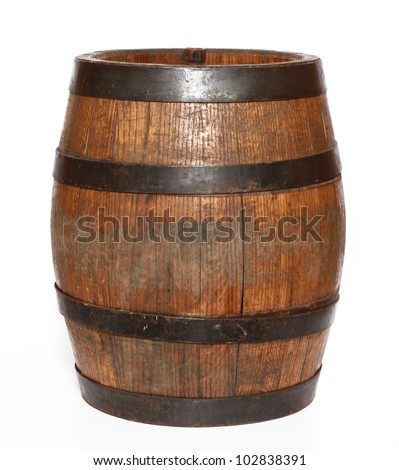 Wooden barrel with iron rings. Isolated on white background. - stock photo