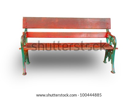Wooden bench  with iron frame - stock photo