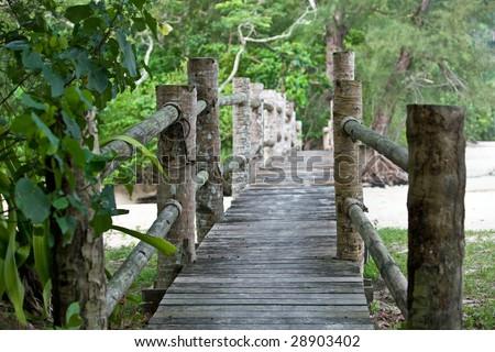 Wooden bridge in  malaysia jungle. Landscape. - stock photo
