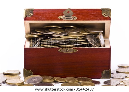 Wooden chest with coins inside isolated