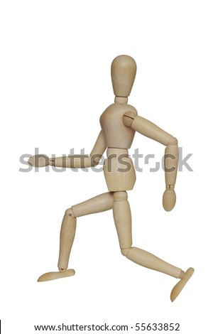 wooden dummy on white background