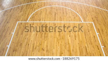 wooden floor basketball court indoor - stock photo