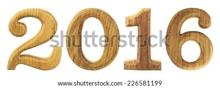 2016 wooden isolated on white background - stock photo