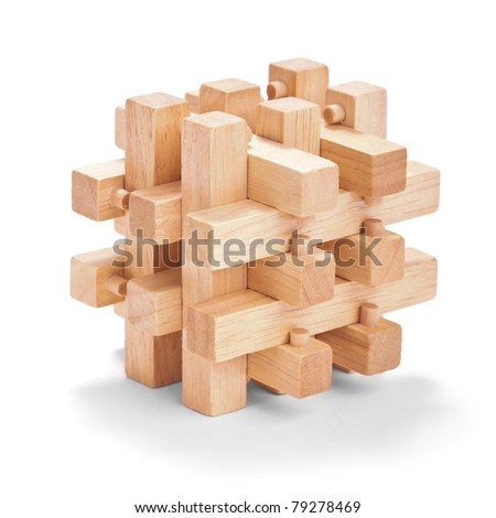 Wooden puzzles - stock photo