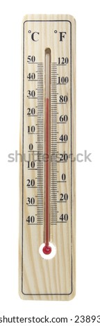 wooden thermometer isolated on white - stock photo