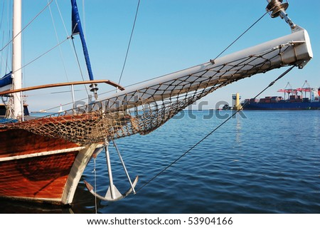 Wooden yacht docked in the port of Odessa