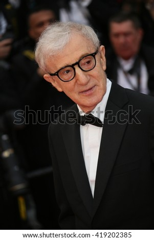 Woody Allen attends the 'Cafe Society' premiere and the Opening Night Gala during the 69th Cannes Film Festival at the Palais des Festivals on May 11, 2016 in Cannes, France. - stock photo