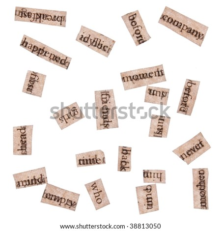 Word Clippings from Books - stock photo