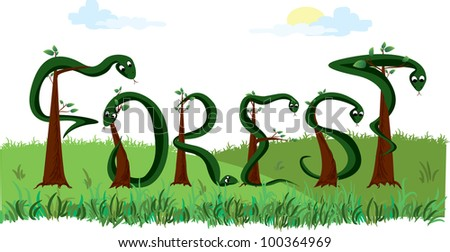 word forest - stock photo