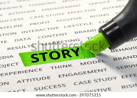Word story highlighted with marker on paper of other related words. For direction of business strategy success concept - stock photo