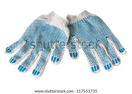 work gloves isolated on white background. - stock photo
