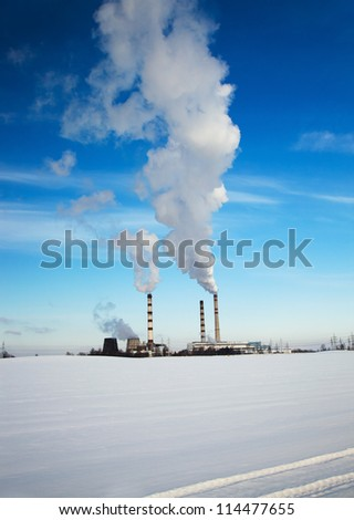 working chemical factory in a winter season. Belarus - stock photo