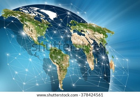World map on a technological background, bright lines and rays, symbols of the Internet,  television, mobile and satellite communications. Primary source and elements of this image furnished by NASA - stock photo