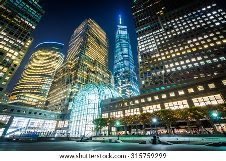 1 World Trade Center and buildings in Battery Park City at night, in Lower Manhattan, New York. - stock photo