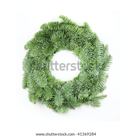 wreath made from real pine boughs isolated on white background - stock photo