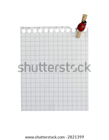 ... write note on it! ...blank paper with peg on white background( isolated). - stock photo