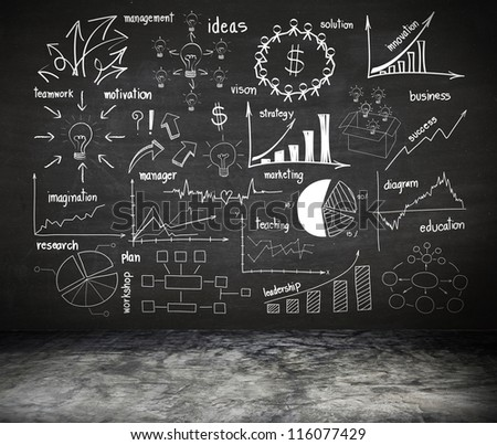 writing business idea concept on wall blackboard blackground - stock photo