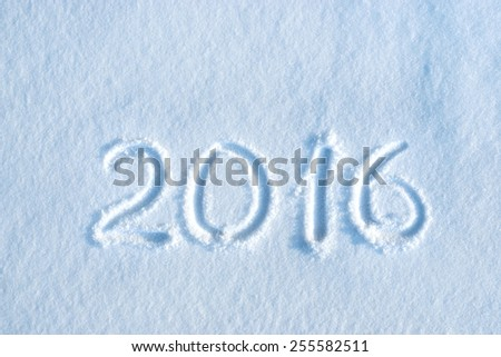 2016 written in snow, new year concept