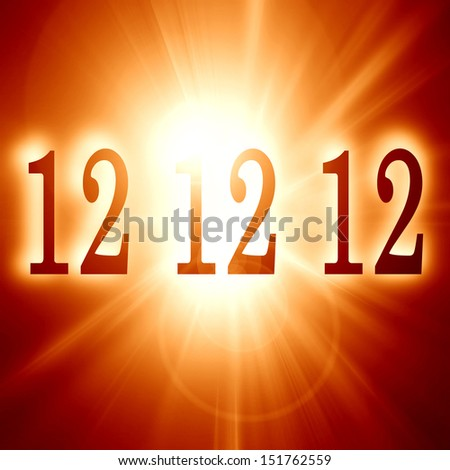 12 12 12 written on a soft red background (doomsday) - stock photo