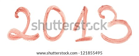 2013 written with beige lipstick isolated on white background - stock photo