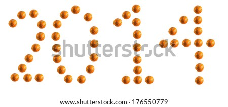 2014 written with old soccer balls - stock photo