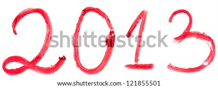 2013 written with red lipstick isolated on white background - stock photo