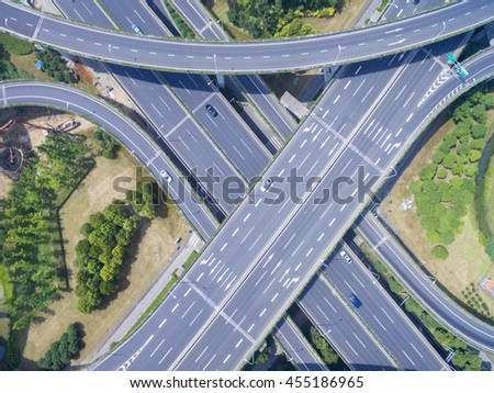 Wuxi, China, Aerial view of a modern highway overpass