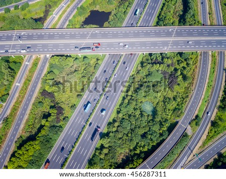 Wuxi, China, busy highway aerial view