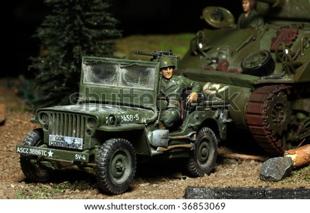 WWII scene Us soldier with car - marking on car is fictive - plastic kit 1:48 scale - homemade work