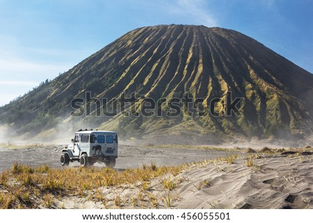 4x4 car service for tourist on desert at Bromo Mountain, Mount Bromo is one of the most 