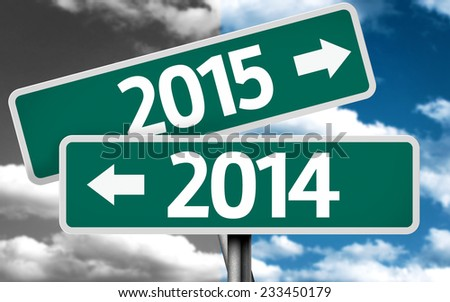 2014 x 2015 creative sign with clouds as the background - stock photo