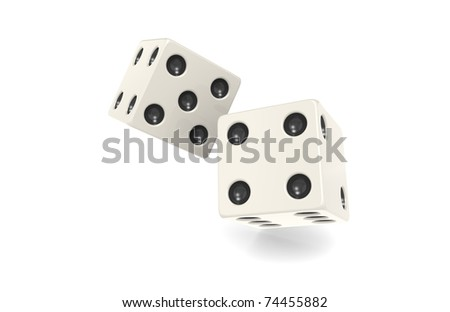 2 x Dice isolated on white.