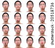 4x4 facial expression background of asian male - stock photo