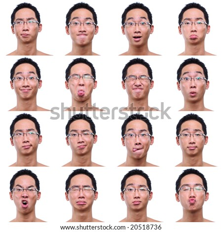 4x4 facial expression background of asian male