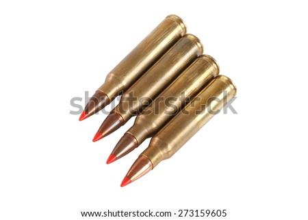 5.56x45mm NATO intermediate cartridges isolated on white