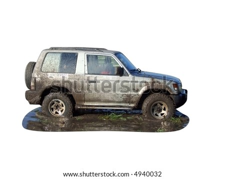 4x4 off road vehicle isolated - stock photo