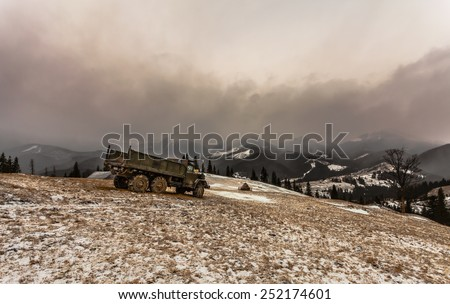 4x4 offroading through Ukraine. - stock photo