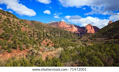 16x9 panoramic view of Kolob Canyons in Zion Canyon National Park, Utah. - stock photo