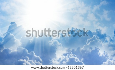 16x9 wide-screen aspect ratio background - light from heaven. Sun and clouds. - stock photo