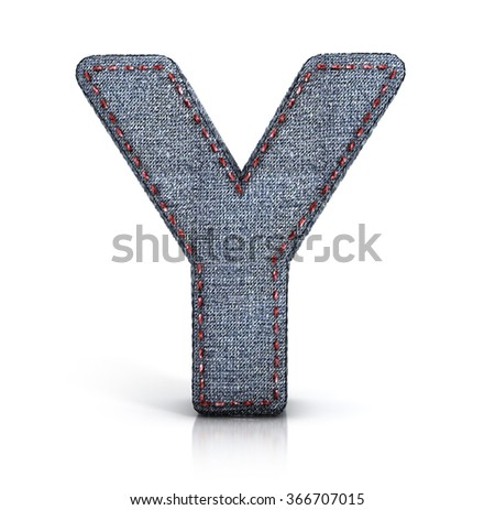 Y letter, from Font of denim (jeans) fabric. 3d illustration isolated on white.