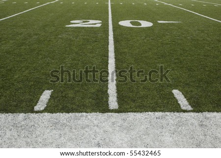20-yard-line of a football field - stock photo